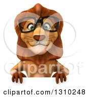 Clipart Of A 3d Bespectacled Male Lion Over A Sign Royalty Free Illustration
