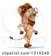 Clipart Of A 3d Bespectacled Male Lion Walking To The Right Royalty Free Illustration