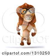 Clipart Of A 3d Bespectacled Male Lion Running Royalty Free Illustration