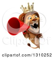 Clipart Of A 3d Lion King Announcing With A Megaphone Around A Sign Royalty Free Illustration by Julos