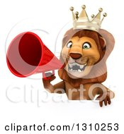 Clipart Of A 3d Lion King Announcing With A Megaphone Over A Sign Royalty Free Illustration by Julos