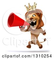 Clipart Of A 3d Lion King Running Left And Announcing With A Megaphone Royalty Free Illustration by Julos