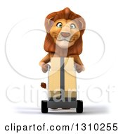 Clipart Of A 3d Male Lion Moving Boxes On A Dolly Royalty Free Illustration
