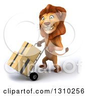 Clipart Of A 3d Male Lion Walking To The Left And Moving Boxes On A Dolly Royalty Free Illustration