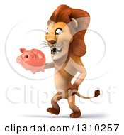 Clipart Of A 3d Male Lion Walking To The Left And Holding A Piggy Bank Royalty Free Illustration