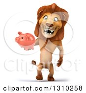 Clipart Of A 3d Male Lion Walking And Holding A Piggy Bank Royalty Free Illustration