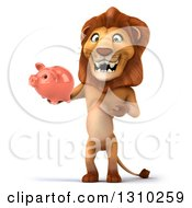 Clipart Of A 3d Male Lion Holding And Presenting A Piggy Bank Royalty Free Illustration