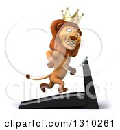 Clipart Of A 3d Male Lion King Facing Right And Running On A Treadmill 2 Royalty Free Illustration by Julos