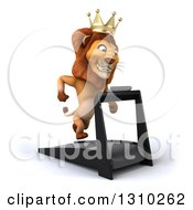 Clipart Of A 3d Male Lion King Facing Slightly Right And Running On A Treadmill Royalty Free Illustration by Julos