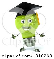 Clipart Of A 3d Happy Green Light Bulb Graduate Character Welcoming Royalty Free Illustration