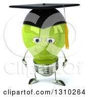 Clipart Of A 3d Sad Green Light Bulb Graduate Character Pouting Royalty Free Illustration