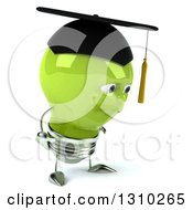 Clipart Of A 3d Sad Green Light Bulb Graduate Character Facing Right And Pouting Royalty Free Illustration