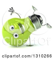 Clipart Of A 3d Happy Green Light Bulb Character Cartwheeling Royalty Free Illustration