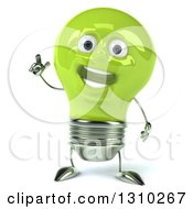 Clipart Of A 3d Happy Green Light Bulb Character Holding Up A Finger Royalty Free Illustration