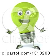 Clipart Of A 3d Happy Green Light Bulb Character Welcoming Royalty Free Illustration
