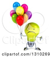 Clipart Of A 3d Unhappy Yellow Light Bulb Character Holding A Thumb Down And Party Balloons Royalty Free Illustration