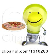 Clipart Of A 3d Happy Yellow Light Bulb Character Holding A Pizza Royalty Free Illustration