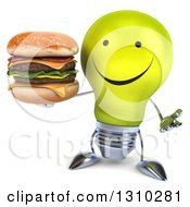Clipart Of A 3d Happy Yellow Light Bulb Character Shrugging And Holding A Double Cheeseburger Royalty Free Illustration