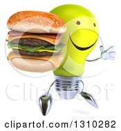 Clipart Of A 3d Happy Yellow Light Bulb Character Facing Slightly Right Jumping And Holding A Double Cheeseburger Royalty Free Illustration