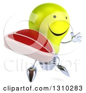 Clipart Of A 3d Happy Yellow Light Bulb Character Facing Slightly Right Jumping And Holding A Beef Steak Royalty Free Illustration