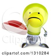 Clipart Of A 3d Unhappy Yellow Light Bulb Character Holding A Beef Steak Royalty Free Illustration
