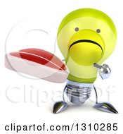 Clipart Of A 3d Unhappy Yellow Light Bulb Character Holding And Pointing To A Beef Steak Royalty Free Illustration