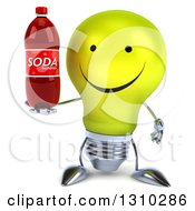 Clipart Of A 3d Happy Yellow Light Bulb Character Holding A Soda Bottle Royalty Free Illustration