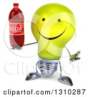Clipart Of A 3d Happy Yellow Light Bulb Character Shrugging And Holding A Soda Bottle Royalty Free Illustration