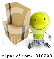 Clipart Of A 3d Happy Yellow Light Bulb Character Holding Up Boxes Royalty Free Illustration
