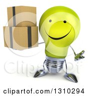 Clipart Of A 3d Happy Yellow Light Bulb Character Shrugging And Holding Boxes Royalty Free Illustration