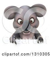 Clipart Of A 3d Koala Pointing Down Over A Sign Royalty Free Illustration