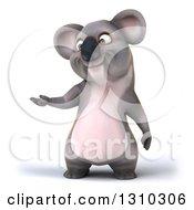 Clipart Of A 3d Koala Presenting Left Royalty Free Illustration