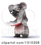 Clipart Of A 3d Bespectacled Koala Facing Slightly Left And Reading A Book Royalty Free Illustration