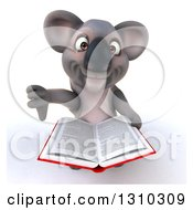 Clipart Of A 3d Koala Holding Up A Book And Thumb Down Royalty Free Illustration
