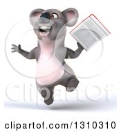 Clipart Of A 3d Koala Jumping And Holding A Book Royalty Free Illustration