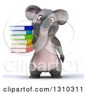 Clipart Of A 3d Koala Holding A Stack Of Books Royalty Free Illustration