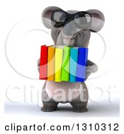 Clipart Of A 3d Koala Wearing Sunglasses And Holding Books Royalty Free Illustration