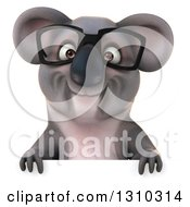 Clipart Of A 3d Bespectacled Koala Over A Sign Royalty Free Illustration