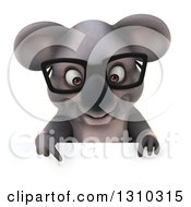 Clipart Of A 3d Bespectacled Koala Pointing Down Over A Sign Royalty Free Illustration