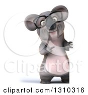 Clipart Of A 3d Full Length Bespectacled Koala Pointing Around A Sign Royalty Free Illustration