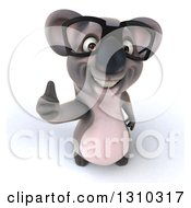 Clipart Of A 3d Bespectacled Koala Holding Up A Thumb Royalty Free Illustration