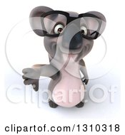 Clipart Of A 3d Bespectacled Koala Holding Up A Thumb Down Royalty Free Illustration