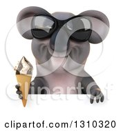 Clipart Of A 3d Koala Wearing Sunglasses And Holding A Waffle Ice Cream Cone Over A Sign Royalty Free Illustration