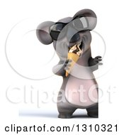Clipart Of A 3d Full Length Koala Wearing Sunglasses And Eating A Waffle Ice Cream Cone Around A Sign Royalty Free Illustration