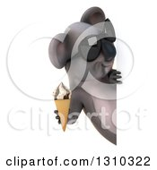 Clipart Of A 3d Koala Wearing Sunglasses And Holding A Waffle Ice Cream Cone Around A Sign Royalty Free Illustration