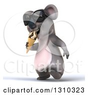 Clipart Of A 3d Koala Wearing Sunglasses Walking Slightly Left And Eating A Waffle Ice Cream Cone Royalty Free Illustration