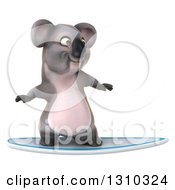 Clipart Of A 3d Koala Surfing Royalty Free Illustration