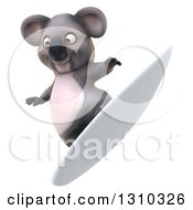 Clipart Of A 3d Koala Surfing 2 Royalty Free Illustration