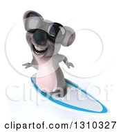 Clipart Of A 3d Koala Surfing Wearing Sunglasses And Smiling Upwards Royalty Free Illustration