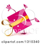Clipart Of A 3d Happy Pink Gift Character Cartwheeling Royalty Free Illustration